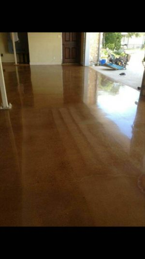 Stained Polished Concrete Residential Garage